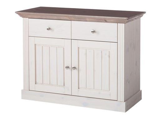 Buffet en pin coloris blanc / pierre - 78.1 x 104 x 46 cm -PEGANE-