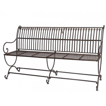 L\'Héritier Du Temps - Banc de jardin banquette en fer marron 3 places  personnes fauteuil de jardin mobilier de qualité 55x84x153cm