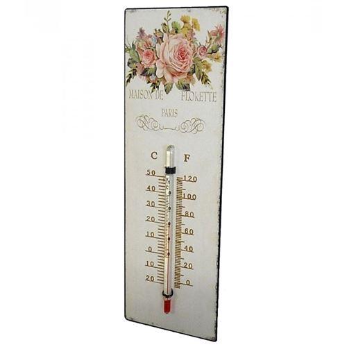 L'Héritier Du Temps - Thermomètre mural décoratif en celsius et farenheit ou à poser motif 'floral à l'ancienne' en fer et papier vernis 0,5x8x25cm