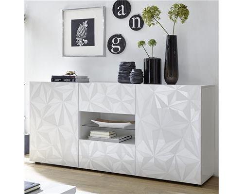 Bahut 180 cm design blanc laqué ANTONIO - Blanc - L 181 x P 42 x H 84 cm