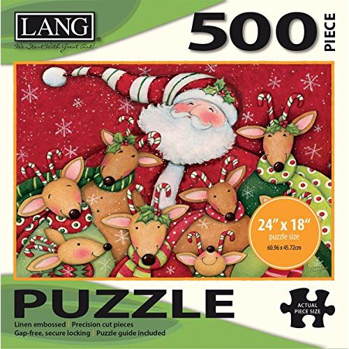 LANG - 500 Piece Puzzle -Deer Friends, Artwork by Susan Winget - Linen Finish - 24 x 18 Completed
