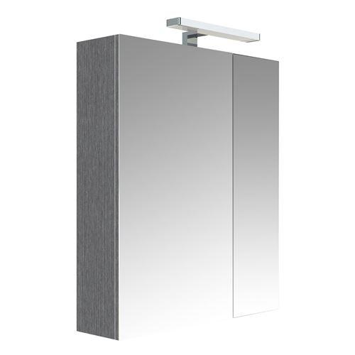 Armoire de toilette éclairante 2 portes JUNO - L. 60 x H. 75 cm - Gris chêne anthracite