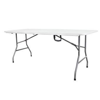 Plastique Table deuxMatériauHDPE Pliante TransportableTable en Robuste180 cmBlancPliable Todeco en 76 x wOPkiTZuX