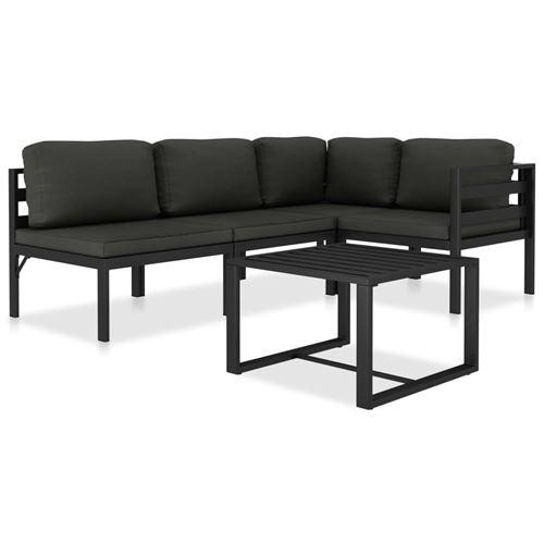vidaXL Salon de jardin - 1 canapé d'angle 4 pièces + 1 table basse - Aluminium Anthracite