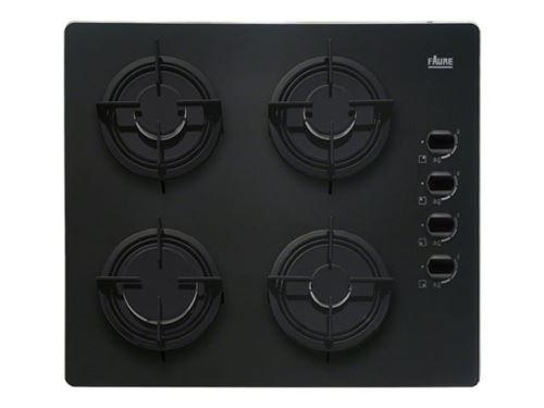 Faure FGO62414BA - Table de cuisson au gaz - 4 plaques de cuisson - Niche - largeur : 55 cm - profondeur : 47 cm - noir