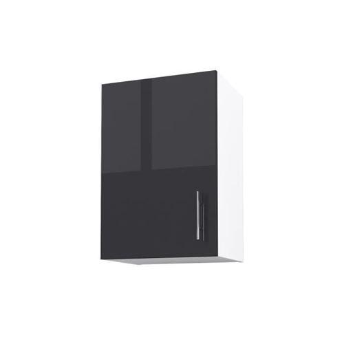 OBI Caisson haut de cuisine avec 1 porte L 40 cm - Blanc et gris laqué brillant