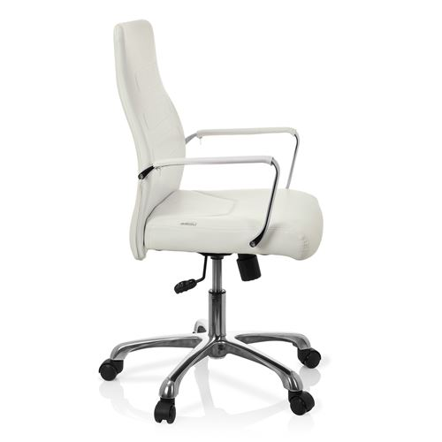 Chaise de bureau Fauteuil de direction TEWA simili cuir blanc hjh OFFICE