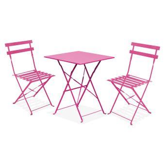 Table bistrot de jardin et 2 chaises pliantes - Rose ...