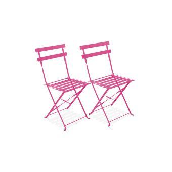 Table bistrot de jardin et 2 chaises pliantes - - Rose