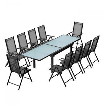 en chaises textilène jardin extensible10 Brescia aluminium 10Ensemble table de en nmN08w
