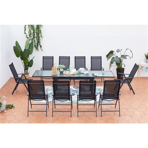 extensible10 chaises 10Ensemble aluminium de en en textilène Brescia jardin table zLqGSjMVUp