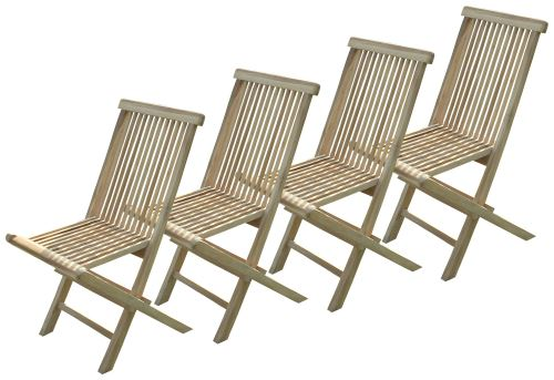 Lot de 4 chaises pliantes Jalang en teck brut