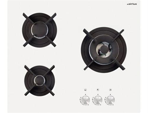Airlux AV635HWH - Table de cuisson au gaz - 3 plaques de cuisson - Niche - largeur : 55 cm - profondeur : 47 cm - Blanc verre