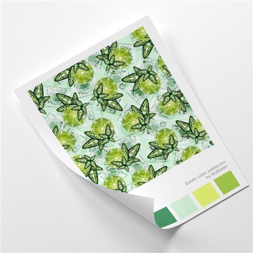 Feeby Poster Affiche Impression Art Image murale déco, Citron vert et menthe 70x100 cm