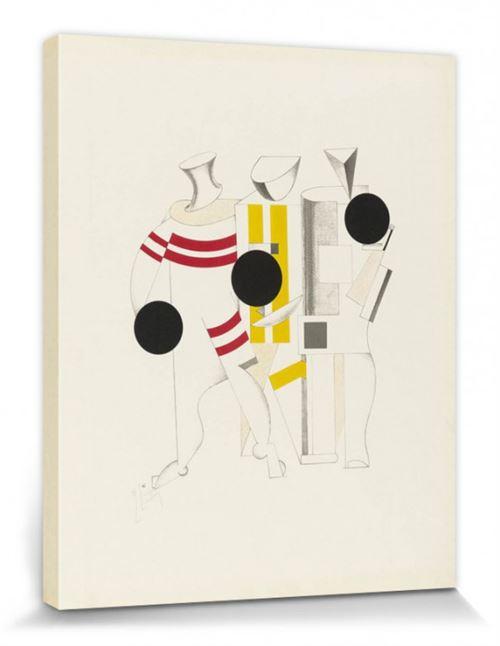El Lissitzky Poster Reproduction Sur Toile, Tendue Sur Châssis - Victoire Sur Le Soleil, Athlètes, 1923 (50x40 Cm)