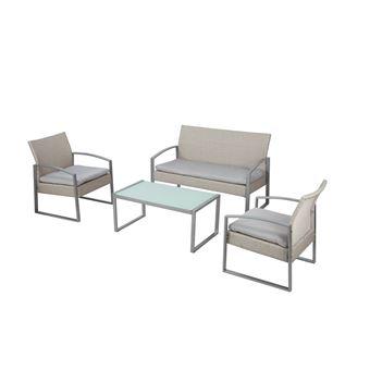 Salon 2 fauteuils canapé table basse couleur beige coussins ALICANTE