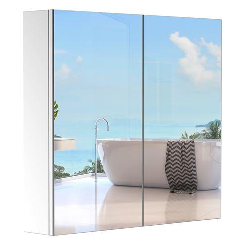 Armoire miroir rangement toilette salle de bain meuble mural dim. 60L x 12l x 55H cm acier inox.
