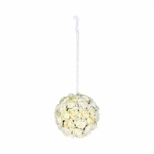 Boule de Roses Artificielles 10cm Blanc