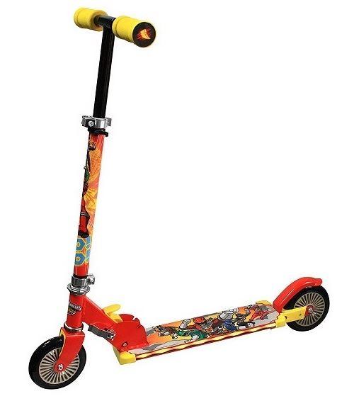 Trottinette en metal pliable et lumineuse 2 roues power rangers - patinette enfant scooter