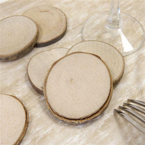Sachet de 4 disques de bois naturel marque place - 5,5 cm