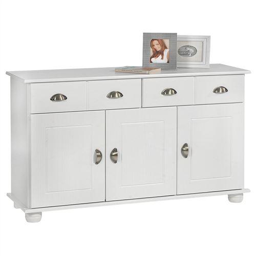 Buffet COLMAR commode bahut vaisselier meuble bas rangement avec 2 tiroirs et 3 portes, en pin massif lasuré blanc