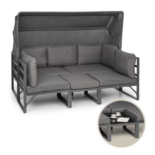 Blumfeldt Ravenna Lounge Salon de jardin polyrotin : Canapé 3 places , table basse avec plateau verre , 2 fauteuils - Coussins inclus