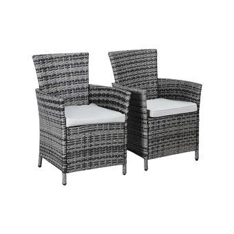 fauteuil jardin en résine tressée - st tropez - florida - gris - lot de 2