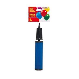 POMPE A MAIN SPECIAL BALLON 29CM FERMEE 41 CM OUVERTE PLASTIQUE BLEU OU ROUGE