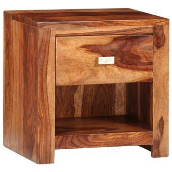 Vidaxl Table De Chevet Lit En Bois Sheesham Solide Avec 1 Tiroir