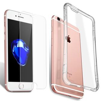 Coque Etui Houe silicone Transparent Apple iPhone 6S Plus vitre de Protection en Verre trempe