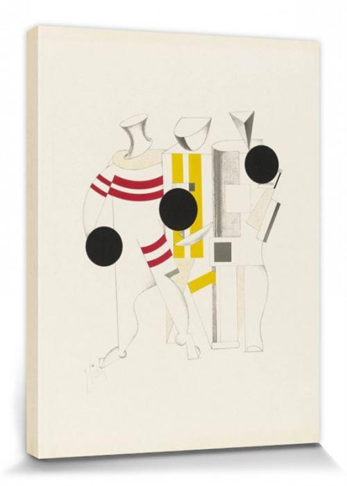 El Lissitzky Poster Reproduction Sur Toile, Tendue Sur Châssis - Victoire Sur Le Soleil, Athlètes, 1923 (80x60 Cm)