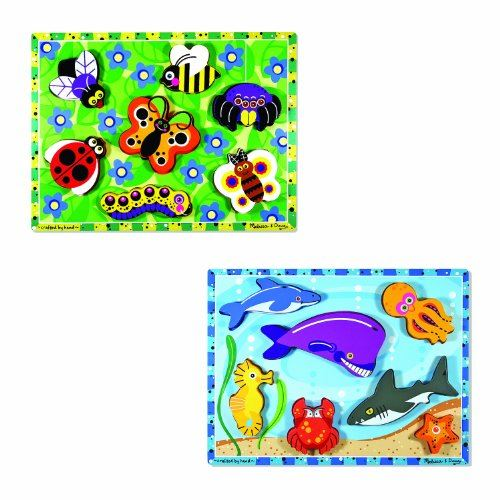 Melissa Doug Wooden Chunky Puzzles Set - Ocean Animals and Insects