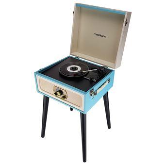 Meuble Tourne Disques Vintage Creme Bleu Bluetooth Tuner Fm Madison Mad Lpretro
