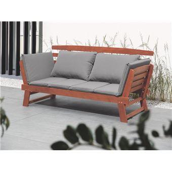 Canapé en bois avec coussin gris Portici