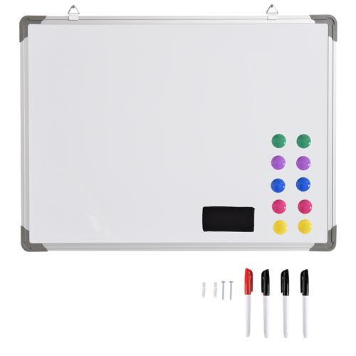 Tableau blanc aimante magnetique cadre aluminium 60x45cm