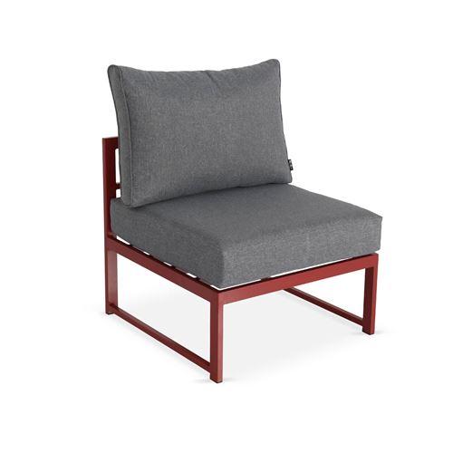 Salon de jardin 5 places Acatium en aluminium, structure rouge et coussins  gris chiné, design et modulable, coussins épais