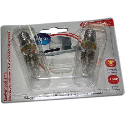Lot de 2 ampoules halogènes T25L E14 40W long. 81mm diam. 23mm Hotte 484000008834 SAUTER, BRANDT, DE DIETRICH, FAGOR, SANGIORGIO - 60258