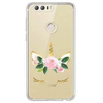 Coque huawei p smart licorne eyes liberty fleur rose dore unicorn