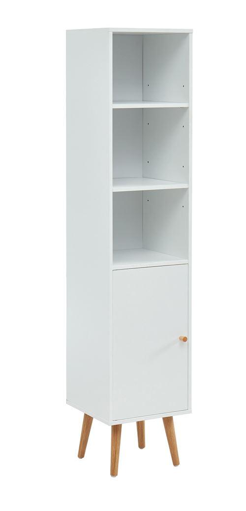 Colonne de rangement pour salle de bain coloris blanc - 30 x 29.5 x 139 cm -PEGANE-