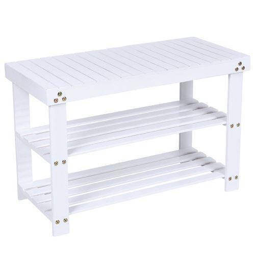 Meuble à chaussures banc banquette étagère armoire blanc 70 cm