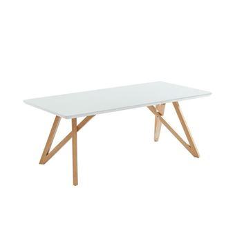 Lulea Table Basse Scandinave Blanc Laque Brillant Pieds En Bois Hevea Massif Croises En Forme De X L 120 X