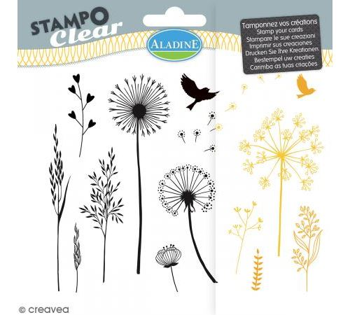 Tampon clear Aladine - Gramines - Planche 15 x 12,5 cm - 13 Stampo'clear