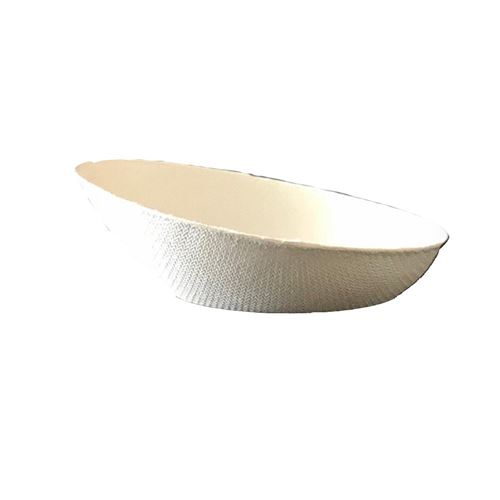 50 coupelles ovales canne à sucre bio 8cm blanc
