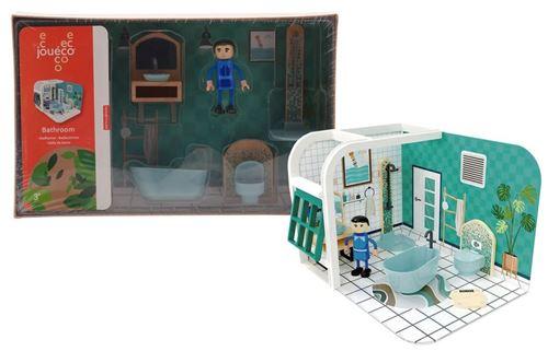 Jouéco set de jeu salle de bain junior carton / bois 7-pièces