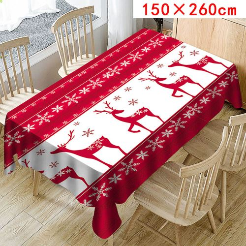 Nappe de Noël Imprimer Rectangle Table Cover Holiday Party Home Decor_Kiliaadk385