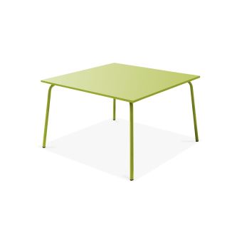 Table de jardin carrée en métal, Palavas - Vert - Mobilier ...