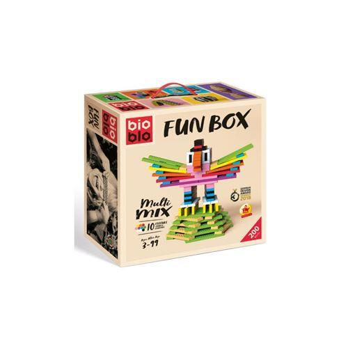 BIOBLO Jeu de construction 200 BRIQUES 10 COULEURS FUN BOX Multicolore