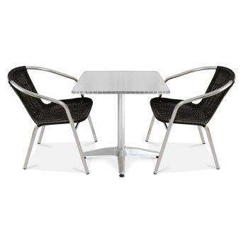 Table de jardin carrée et 2 fauteuils en alu - Noir ...