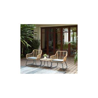 Cap Salon De Jardin 2 Places En Resine Imitation Rotin Avec 2 Fauteuils  Coussins Gris + Table Basse