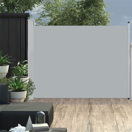 Auvent latéral rétractable de patio 140x500 cm Gris